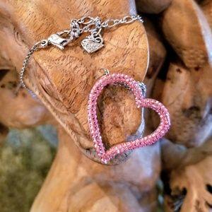 Swarovski Crystals Silver Heart Necklace Pink